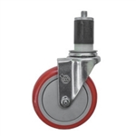 "5"" Expanding Stem Stainless Steel Swivel Caster with Red Polyurethane Tread"