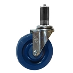 "5"" Expanding Stem Stainless Steel  Swivel Caster with Solid Polyurethane Tread"