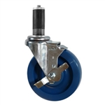 "5"" Expanding Stem Stainless Steel  Swivel Caster with Solid Polyurethane Tread and brake"