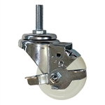 3 Inch Stainless Steel Threaded Stem Swivel Caster with Nylon Wheel and Brake