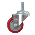 "3"" Stainless 3/8"" Thread Swivel Caster with Polyurethane Tread"