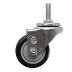 "3"" metric threaded stem Stainless Swivel Caster with Black Polyurethane Tread"