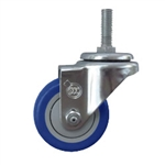 "3"" metric threaded stem Stainless Swivel Caster with Blue Polyurethane Tread"