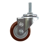 "3"" metric threaded stem Stainless Swivel Caster with Maroon Polyurethane Tread"