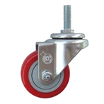 "3"" metric threaded stem Stainless Swivel Caster with Red Polyurethane Tread"