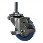 "3"" Metric Threaded Stem Swivel Caster with Solid Polyurethane and Brake"