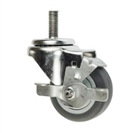 "3"" Stainless Steel 1/2 Inch Threaded Stem Swivel Caster with Thermoplastic Rubber Wheel and Brake"