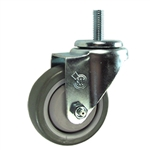 10mm Stainless Steel Threaded Stem Swivel Caster with a Polyurethane Tread Wheel