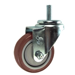 10mm Stainless Steel Threaded Stem Swivel Caster with a Maroon Polyurethane Tread Wheel
