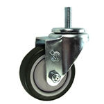 12mm Stainless Steel Threaded Stem Swivel Caster with a Black Polyurethane Tread Wheel