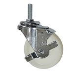 4 Inch Stainless Steel Threaded Stem Swivel Caster with Nylon Wheel and Brake