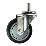 "4"" Stainless Steel Threaded Stem Swivel Caster with Black Polyurethane Tread"
