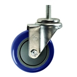 "4"" Stainless Steel Threaded Stem Swivel Caster with Blue Polyurethane Tread"