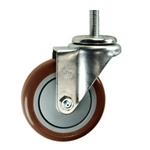 "4"" Stainless Steel Threaded Stem Swivel Caster with Maroon Polyurethane Tread"