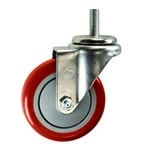 "4"" Stainless Steel Threaded Stem Swivel Caster with Red Polyurethane Tread"