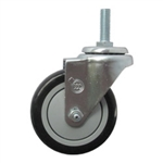 "4"" Stainless Metric Threaded Stem Swivel Caster with Black Polyurethane Tread"