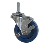 "4"" Stainless Steel Metric Threaded Stem Swivel Caster with Solid Polyurethane Wheel and Brake"