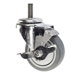 "4"" Stainless Steel Threaded Stem Swivel Caster with Thermoplastic Rubber Wheel and Brake"