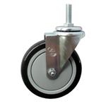 "5"" Stainless Steel Threaded Stem Swivel Caster with Black Polyurethane Tread Wheel"