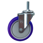 "5"" Stainless Steel Threaded Stem Swivel Caster with Blue Polyurethane Tread Wheel"