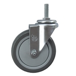 "5"" Stainless Steel Threaded Stem Swivel Caster with Polyurethane Tread Wheel"