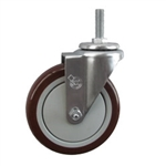 "5"" Stainless Steel Threaded Stem Swivel Caster with Maroon Polyurethane Tread Wheel"