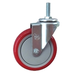 "5"" Stainless Steel Threaded Stem Swivel Caster with Red Polyurethane Tread Wheel"
