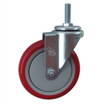 "5"" Stainless Metric Stem Swivel Caster with Red Polyurethane Tread"