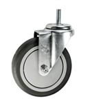 "5"" Stainless Steel 1/2"" Threaded Stem Swivel Caster with Thermoplastic Rubber Wheel"