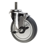 "5"" Stainless Steel Threaded Stem Swivel Caster with Thermoplastic Rubber Wheel and Brake"
