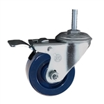 "3"" Metric Stainless Steel Swivel Caster with Solid Polyurethane Tread and Total Lock Brake"