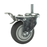 "3"" Stainless Steel Threaded Stem Swivel Caster with Total Lock and Thermoplastic Rubber Wheel"