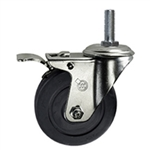 "4 Inch Stainless Steel 3/8"" Threaded Stem Caster with Hard Rubber Wheel"