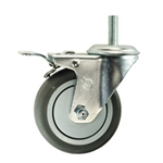 "4"" Stainless Steel Threaded Stem Swivel Caster with Thermoplastic Rubber Wheel and Total Lock Brake"