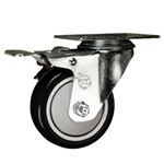 "3"" Stainless Steel Swivel Caster with Black Poly Wheel and Total Lock Brake"