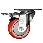 "3"" Stainless Steel Swivel Caster with Red Poly Wheel and Total Lock Brake"