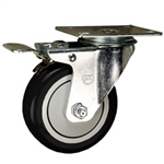 "4"" Stainless Steel Swivel Caster with Black Poly Wheel and Total Lock Brake"