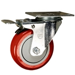 "4"" Stainless Steel Swivel Caster with Red Poly Wheel and Total Lock Brake"