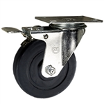 "4"" Stainless Steel  Swivel Caster with Soft Rubber Wheel and Total Lock Brake"