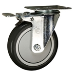"5"" Stainless Steel Swivel Caster with Total Lock Brake and Black Polyurethane Wheel"