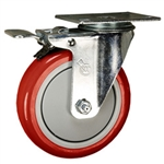 "5"" Stainless Steel Swivel Caster with Total Lock Brake and Red Polyurethane Wheel"
