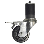 "3"" Stainless Steel  Expanding Stem Swivel Caster with Hard Rubber Wheel and Total Lock Brake"