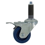 "3"" Expanding Stem Stainless Steel  Swivel Caster with Solid Polyurethane Tread and Total Lock"