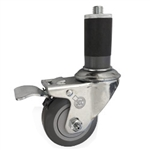"3"" Stainless Steel  1-1/4"" Expanding Stem Swivel Caster with Thermoplastic Rubber Wheel and Total Lock Brake"