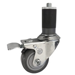 "3"" Stainless Steel  1-1/2"" Expanding Stem Swivel Caster with Thermoplastic Rubber Wheel and Total Lock Brake"