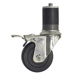 "3-1/2"" Stainless Steel  Expanding Stem Swivel Caster with Hard Rubber Wheel and Total Lock Brake"