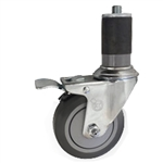 "3-1/2"" Stainless Steel  Expanding Stem Swivel Caster with Thermoplastic Rubber Wheel and Total Lock Brake"
