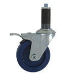"4"" Expanding Stem Stainless Steel  Swivel Caster with Solid Polyurethane Tread and Total Lock brake"