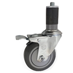 "4"" Stainless Steel  Expanding Stem Swivel Caster with Thermoplastic Rubber Wheel and Total Lock Brake"