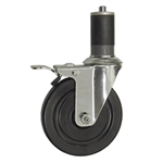 "5"" Stainless Steel Expanding Stem Swivel Caster with Hard Rubber Wheel and Total Lock System"